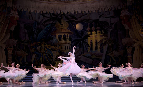 Lindsi Dec (center) and Pacific Northwest Ballet Dancers in Waltz of the Flowers. Photo by Angela Sterling.